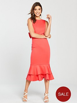 true-violet-bow-back-peplumnbsphem-pencil-dress-coral-rednbsp