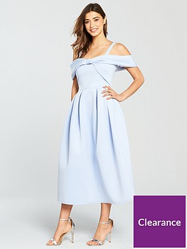 true-violet-bow-detail-skater-midi-dress-pale-blue