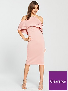 true-violet-halter-neck-frill-front-midi-dress-blush