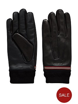 ted-baker-leather-ribbed-cuff-glove