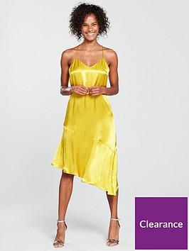 mango-asymmetric-satin-dress-yellow