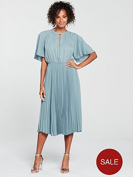 mango-pleated-skirt-dress-blue