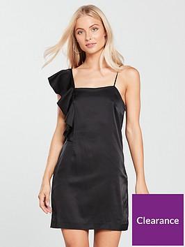 mango-frill-asymmetric-dress-black