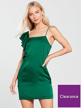 mango-frill-asymmetric-dress-green