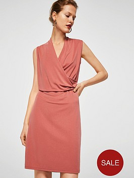 mango-drape-front-dress-coral