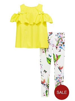baker-by-ted-baker-girls-cold-shoulder-top-and-legging-set-yellow