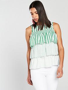 river-island-river-island-stripe-frill-layer-blouse--green