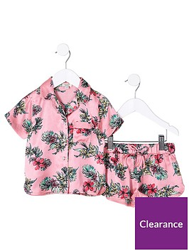 river-island-mini-girls-pink-tropical-shirt-pyjama-set