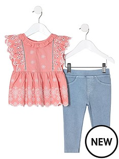 river-island-mini-girls-coral-broderie-top-and-denim-look-legging-set