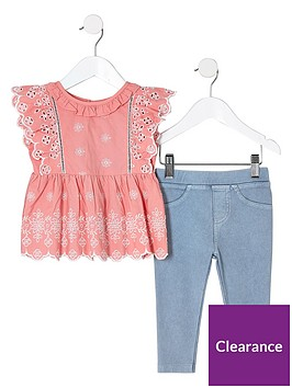 river-island-mini-girls-coral-broderie-top-and-denim-look-legging-set
