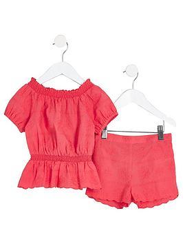 river-island-mini-girls-coral-bardot-top-and-shorts-set
