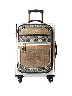 river-island-beige-woven-panel-four-wheel-suitcase