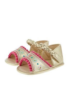 monsoon baby girls embroidered pom pom bootie sandal