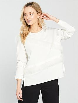 river-island-drop-sleeve-feather-sweater-cream