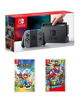 nintendo-switch-console-with-super-mario-odyssey-and-mario-andnbsprabbids-kingdom-battle
