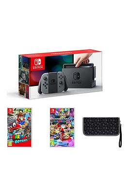 nintendo-switch-grey-console-with-super-mario-odyssey-mario-kart-8-andnbsppremium-console-case