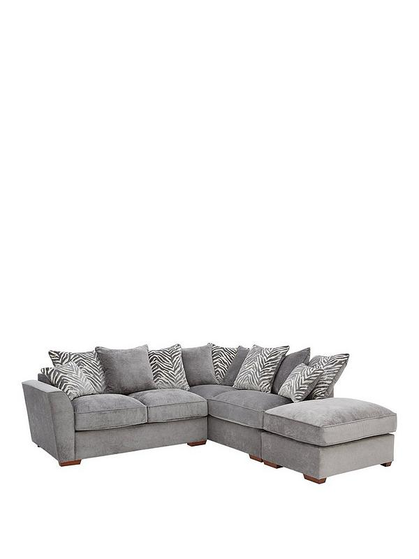 Peachy Kingston Fabric Right Hand Scatter Back Corner Chaise Sofa With Footstool Short Links Chair Design For Home Short Linksinfo