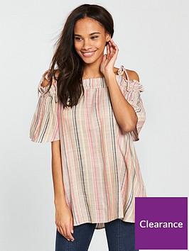 river-island-stripe-bardot-blouse--beige
