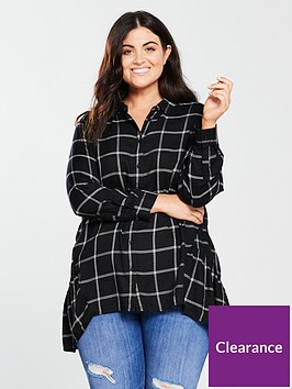 v-by-very-curve-dipped-back-longline-check-shirt-black