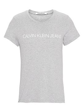 b8b90ddc85 Calvin Klein Jeans Institutional Logo Slim Fit T-shirt - Light Heather Grey