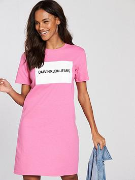 calvin-klein-jeans-institutional-box-logo-t-shirt-dress-wild-orchid