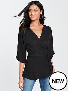 v-by-very-kimono-sleeve-wrap-blouse-black