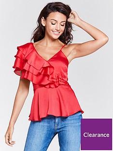 michelle-keegan-one-shoulder-frill-caminbsptop-red