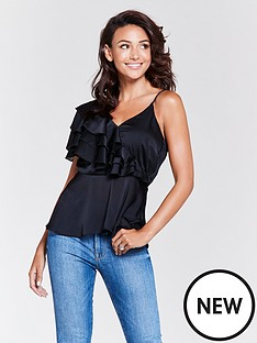 michelle-keegan-one-shoulder-frill-caminbsptop-black