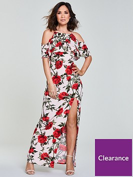 myleene-klass-ruffle-front-maxi-dress-pinkprintnbsp
