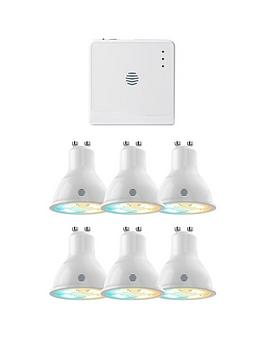 hive-active-lightnbspgu10-cool-to-warm-white-led-spotlights--nbsp6-pack-with-hub