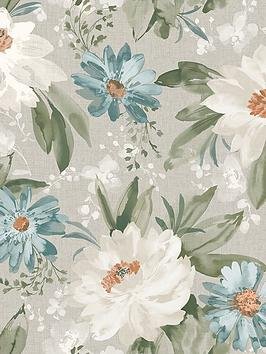 ARTHOUSE Arthouse Painted Dahlia Wallpaper In Green Picture