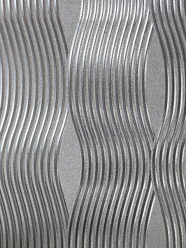 ARTHOUSE Arthouse Foil Silver Wave Wallpaper Picture