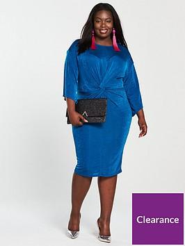 v-by-very-curve-slinky-knot-front-dress-cobalt-blue