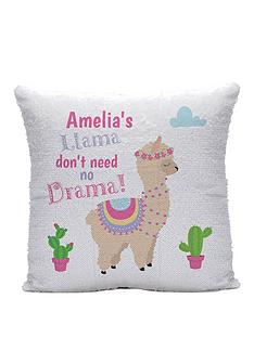 personalised-iridescent-sequin-llama-drama-cushion