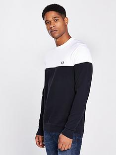 fred-perry-panelled-crew-neck-jumper