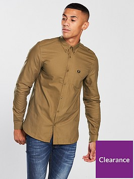 fred-perry-mens-classic-long-sleeve-oxford-shirt-dark-caramel