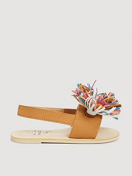 mango baby girls suede fringe sandals - beige