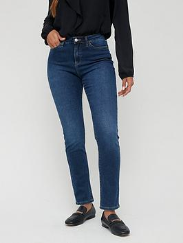 V by Very V By Very Short Isabelle High Rise Slim Leg Jeans - Dark Wash Picture