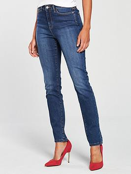 V by Very V By Very Short Isabelle High Rise Slim Leg Jeans - Mid Wash Picture
