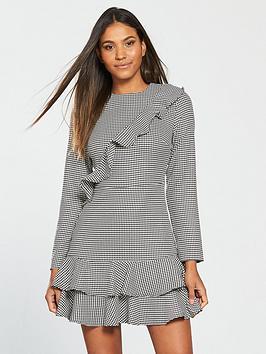 v-by-very-frill-checked-dress-monochrome