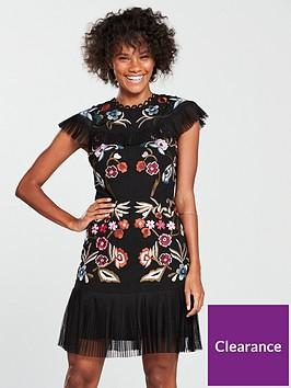 v-by-very-embroidered-pleat-hem-dress-black