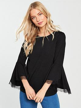 v-by-very-frill-sleeve-lace-insert-top-blacknbsp