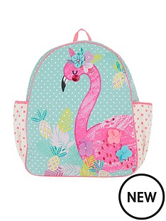 accessorize-girls-fiona-flamingo-canvas-backpack