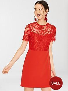 oasis-lace-bodice-shift-dress-red-orange