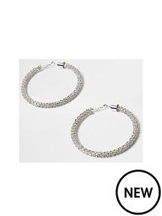 river-island-river-island-diamante-rope-hoop-earrings--silver