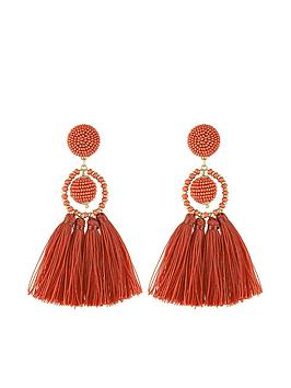 accessorize-block-colour-tassel-earrings-red