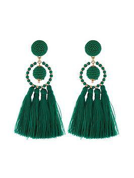 accessorize-block-colour-tassel-earrings-green