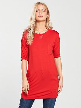 v-by-very-pocket-frac34-sleeve-tunic-ndash-red