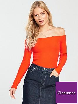 v-by-very-ribbed-long-sleeve-bardot-top-orangenbsp