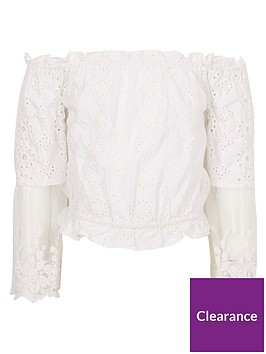 river-island-girls-cream-lace-bardot-top